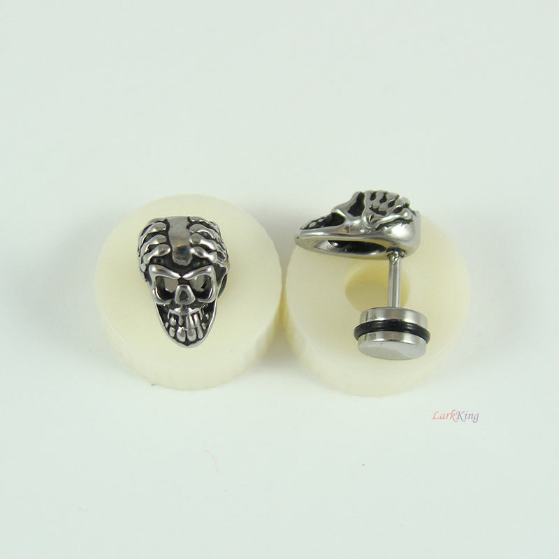 Stud earrings, skeleton studs, skeleton earrings, skeleton stud earrings, skull stud earrings, surgical steel earrings, ER360