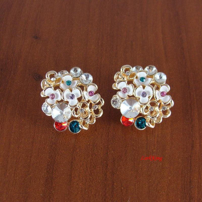 Flower earrings, colored earrings, crystal earrings, unique earrings, girls earrings, women earrings, statement earrings, LarkKing ER1154