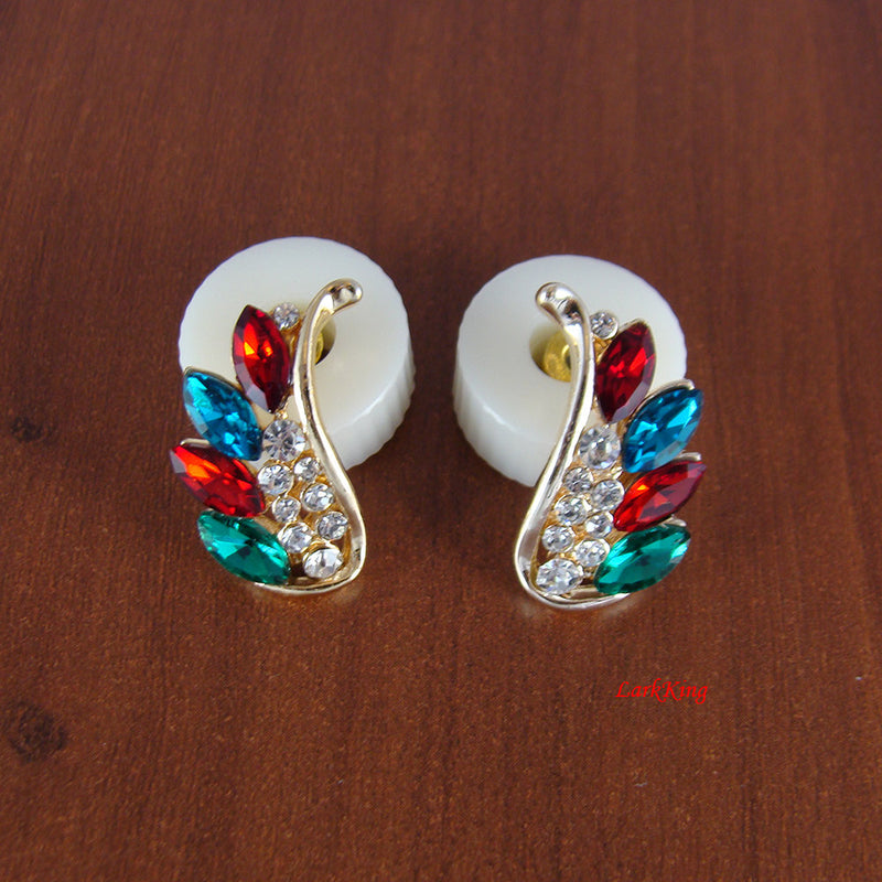 Wing earrings, crystal earrings, red earrings, blue earrings, colored earrings, women earrings, statement earrings, funky, LarkKing ER1186