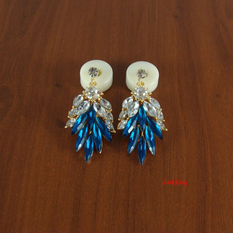 Blue earrings, wing earrings, long earrings, long dangle earrings, white earrings, crystal earrings, modern earrings, women earrings, ER1228