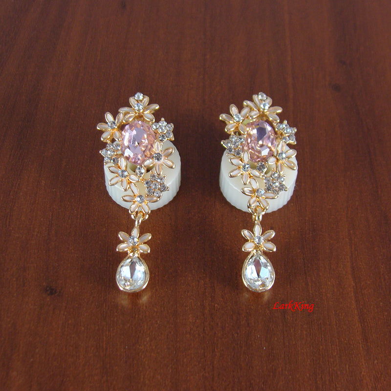 Flower earrings, drop earrings, pink earrings, long earrings, dangle earrings, crystal earrings, women earring, unique jewelry, ER1230