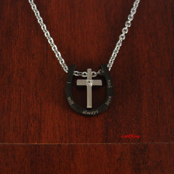 Black cross, i will always love you, i love you, personalized cross necklace, small cross, tiny cross, personalized necklace, LarkKing NE530