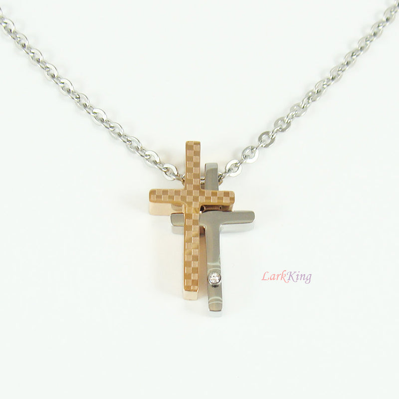 Stainless steel cross necklace, double cross necklace, cross jewelry, women cross necklace, mens cross necklace, catholic jewelry, NE534
