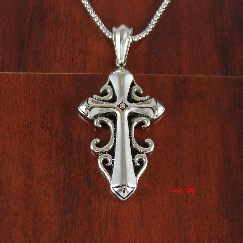 Cross necklace, stainless steel cross, sword cross curls on side, christian gifts, cross necklace christian jewelry, religious cross, NE510