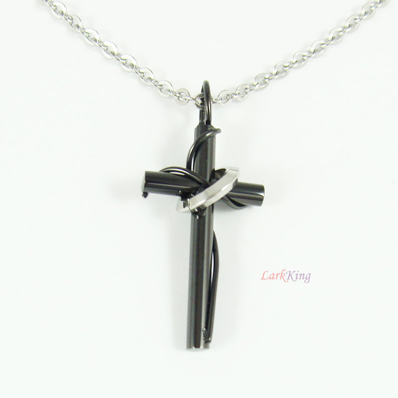 Stainless steel cross necklace, black cross, black necklace, baptism favors, disciples cross gift, baptism cross,  cross jewelry, NE527