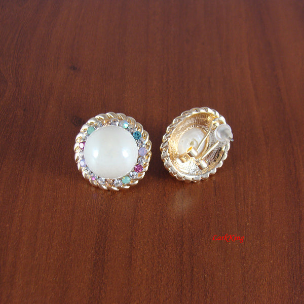 Bead earrings, crystal earrings, white earrings, LarkKing ER1257