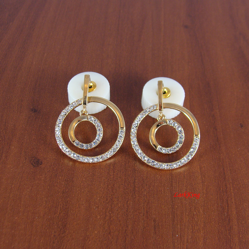 Double circle earrings, double hoop earrings, crystal earrings, loop earrings, dangle earrings, everyday earrings, statement earring, ER1252