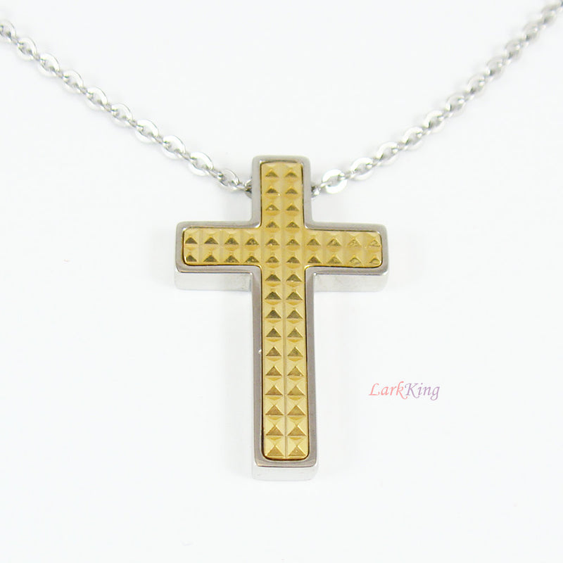 Cross, stainless steel cross necklace, cross jewelry, disciples cross gift, baptism cross, christian necklace, gold color cross, NE521