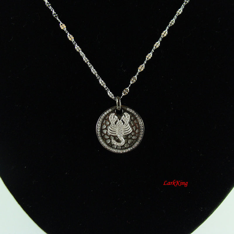 Sterling silver scorpio necklace, scorpion necklace, white gold filled, star sign necklace, horoscope necklace, zodiac necklace, BN19