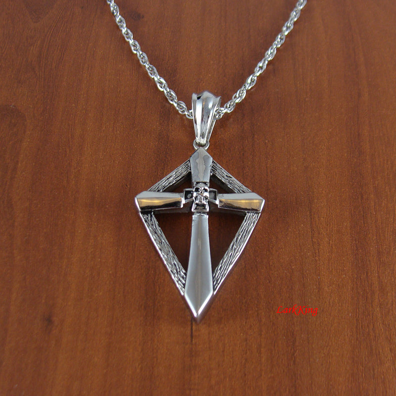 Skull cross necklace, stainless steel cross necklace, skull cross, skull necklace, frame cross, steel cross, cross necklace men, NE503