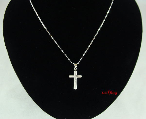 Sterling silver cross necklace, silver cross, cross gifts, cross charm, cross jewelry, sterling cross, silver necklace, baptism favor, NE111