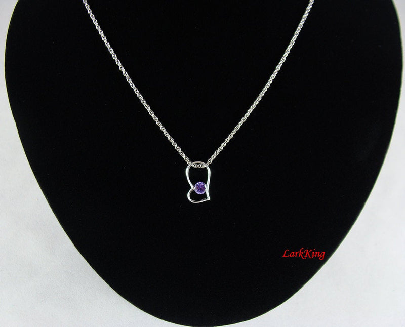 Sterling silver gemstone heart necklace, purple gemstone heart pendant, heart necklace for women, heart fine jewelry, Larkking LK9211