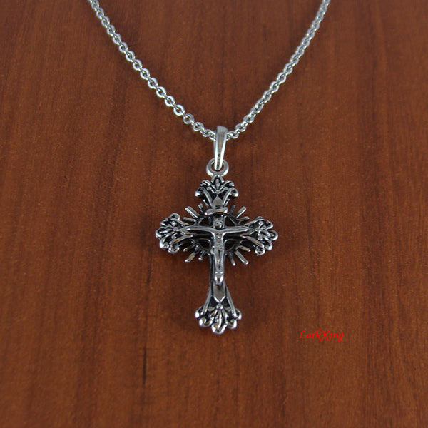 Stainless steel double sided cross necklace, two sided necklace, Jesus cross, crucifix cross, crucified cross, steel cross necklace, NE507