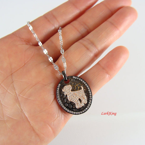 Sterling silver aries necklace, ram necklace, zodiac necklace, star sign necklace, birthday necklace, horoscope necklace, personalized, BN02
