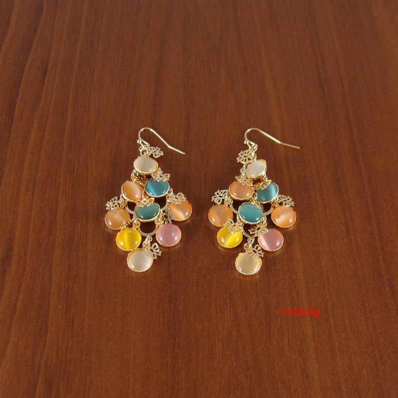 Colorful earrings, butterfly earrings, green, peach, yellow, pink, diamond shape earrings, dangle earrings, earrings for teens, ER1118