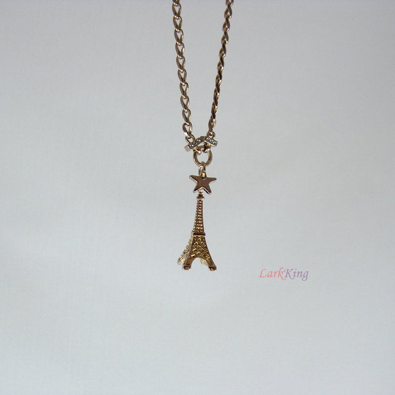 Paris charm, Eiffel tower, Eiffel tower charm, Paris necklace, Eiffel tower pendant, Paris jewelry, french love, France charm, LarkKing NE70
