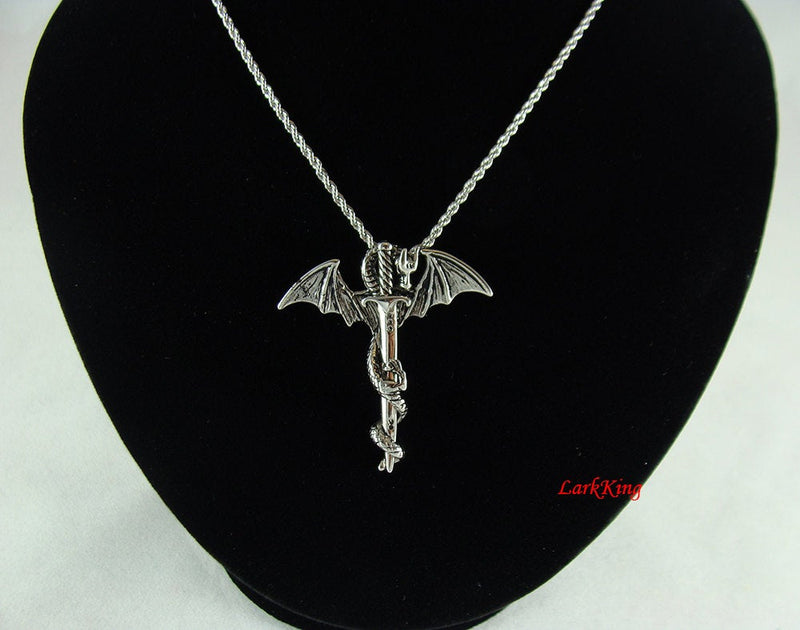 Dragon warrior cross necklace, dragon necklace, wings necklace, sword necklace, guardian cross, religious necklace, knight necklace, NE5079
