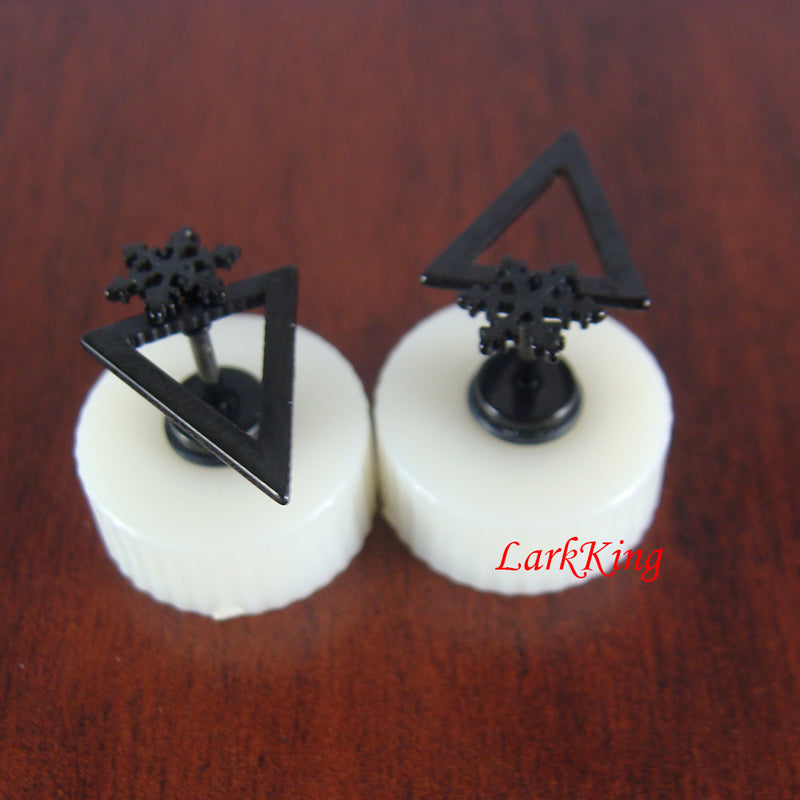 Stud earrings, black snowflake earrings, black triangle stud earrings, snowflake stud earrings, black studs, black earrings, ER498