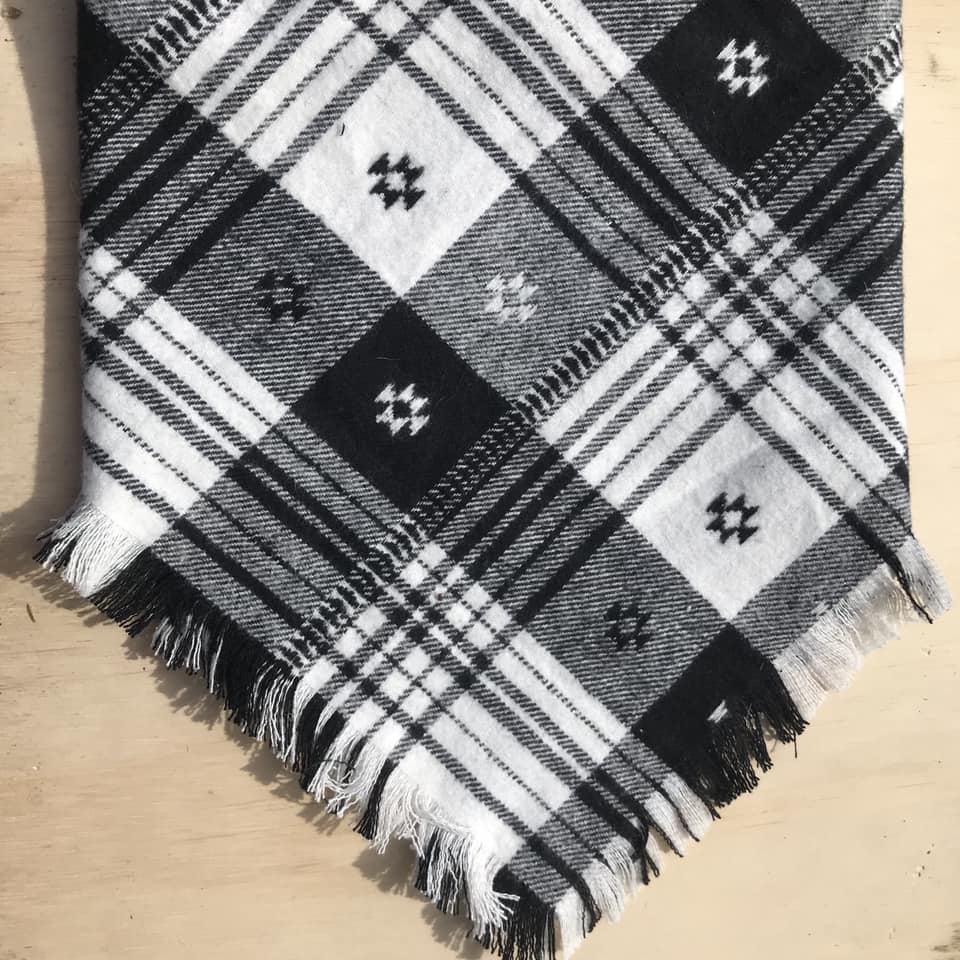 Black and White aztec plaid scarf