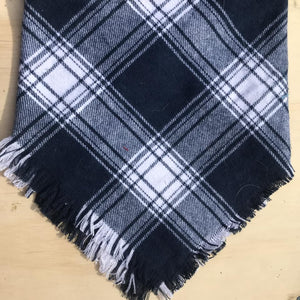 Navy and White plaid blanket scarf