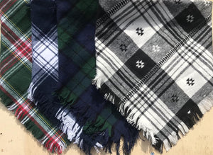 Navy and Green plaid blanket scarf