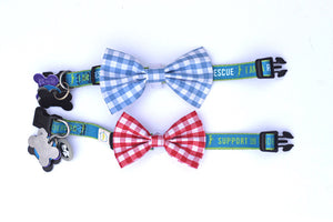 The ollie red-red gingham bow tie