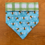 Spring Bees on Green Plaid Bandana