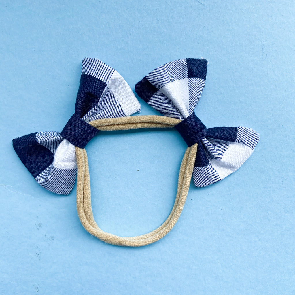 Navy gingham double bow headband