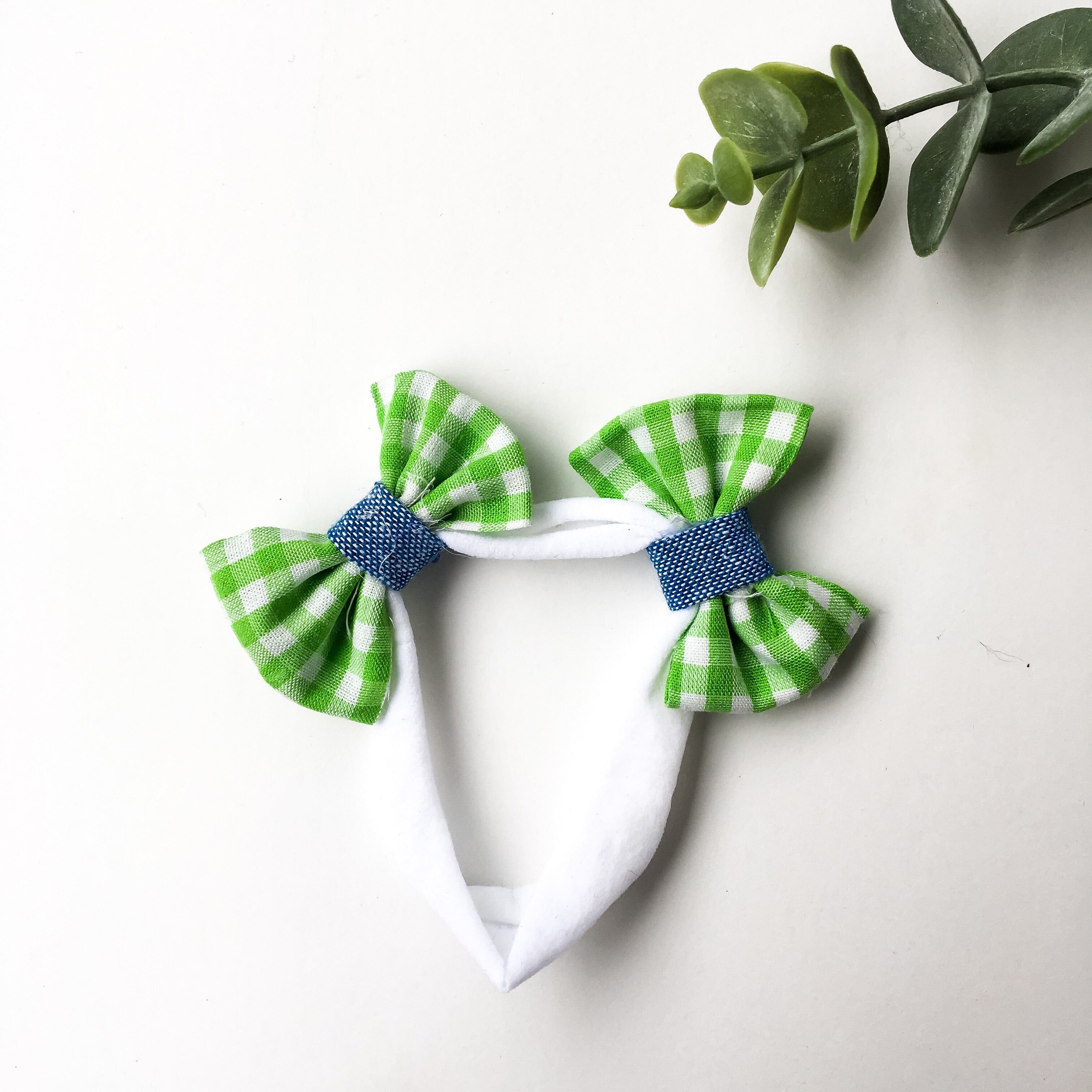 Green gingham with chambray contrast double bow headband