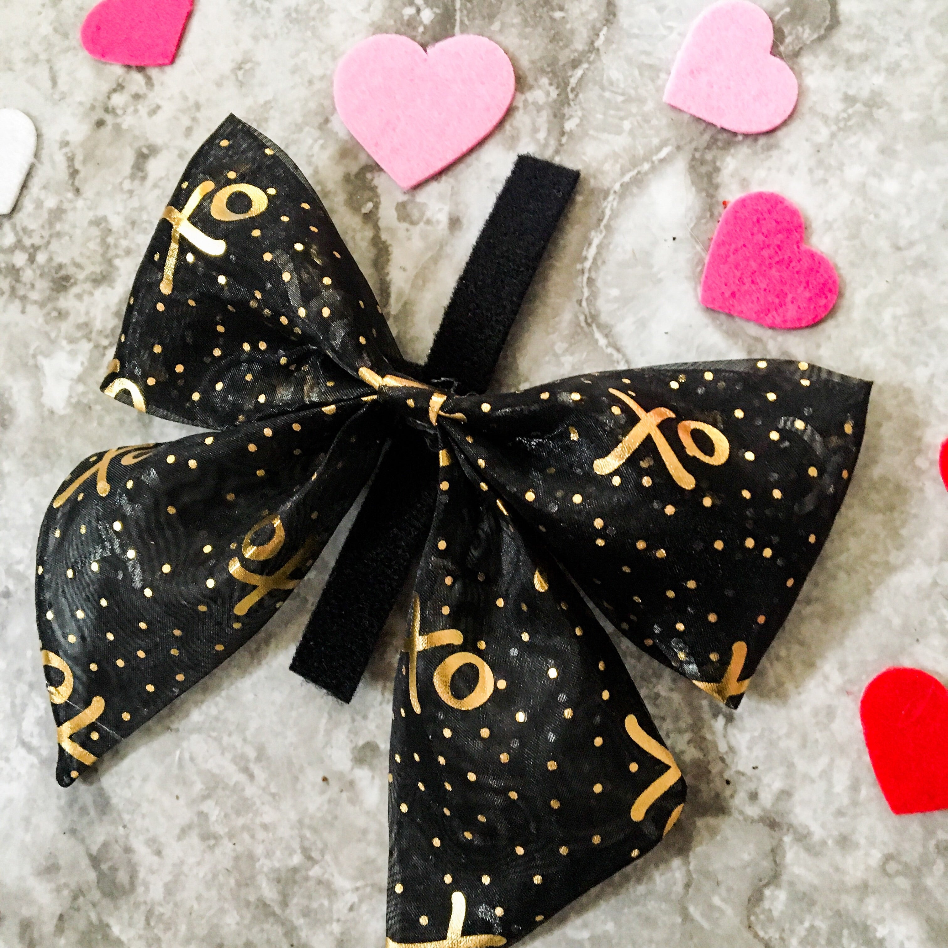 Sheer black with gold foil XOs