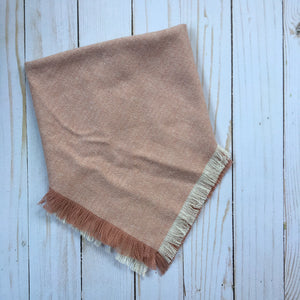 Blush and ivory herringbone tweed blanket scarf