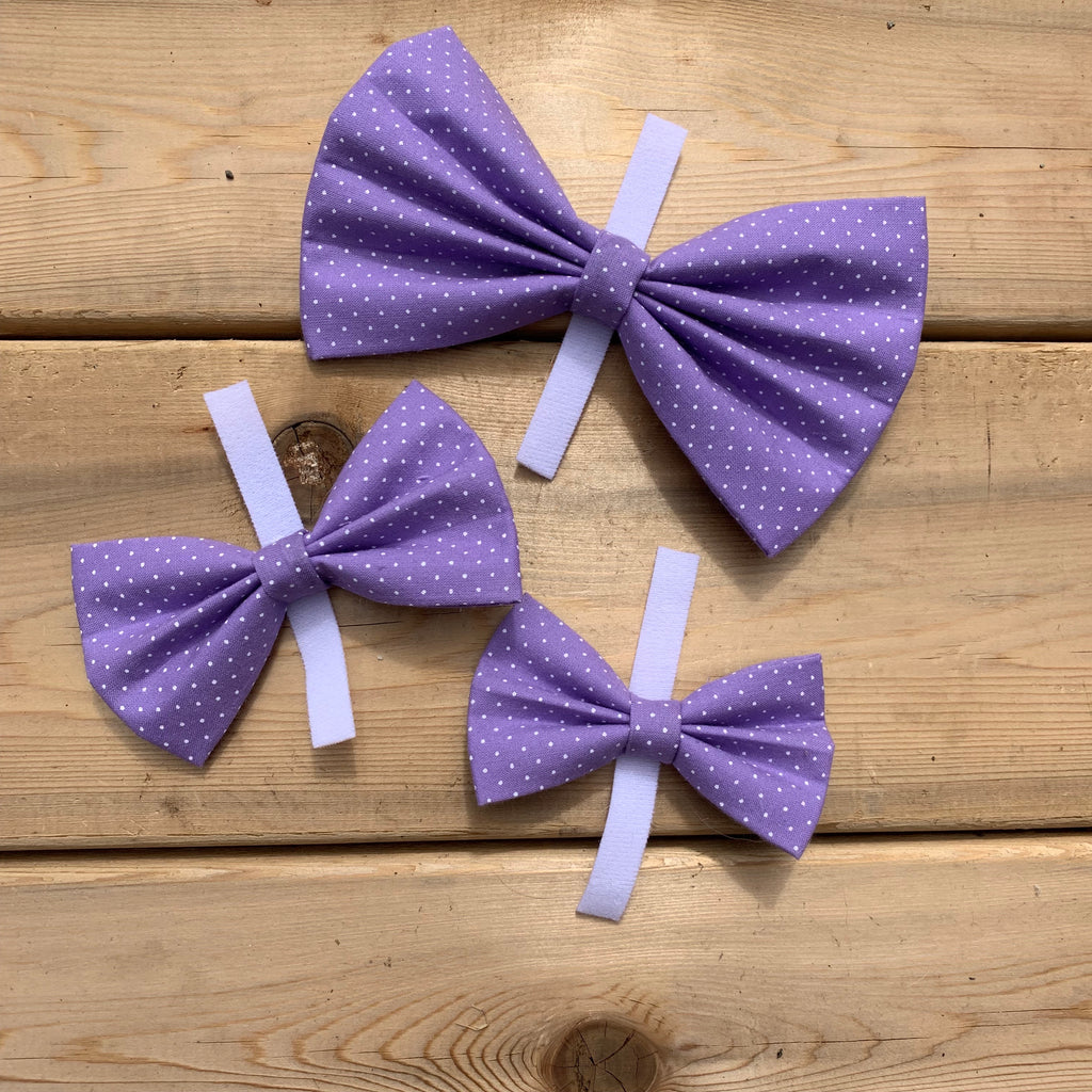 The Gunther- purple with polka dots bow tie