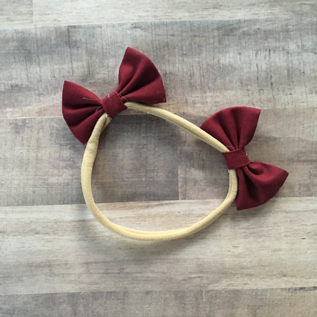 Large dog maroon double bow headband