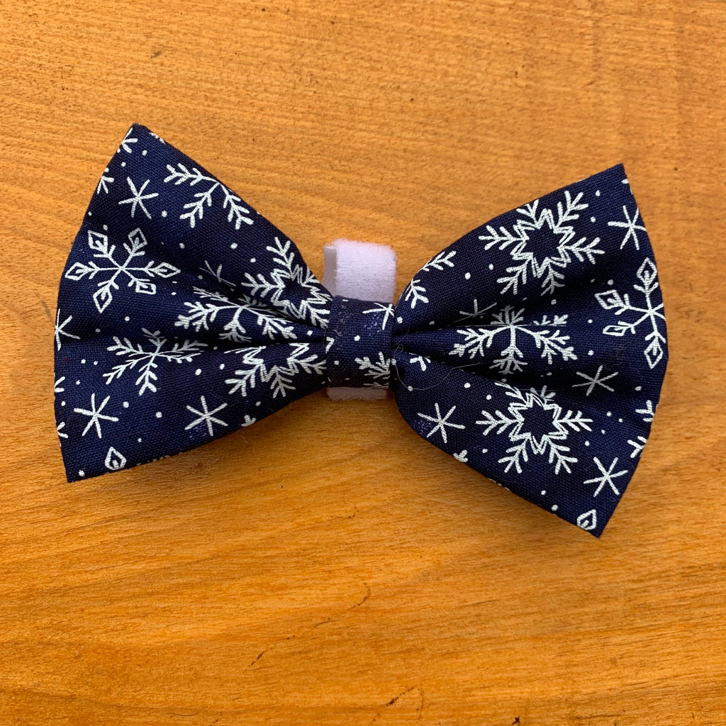 Navy snow flake bow tie