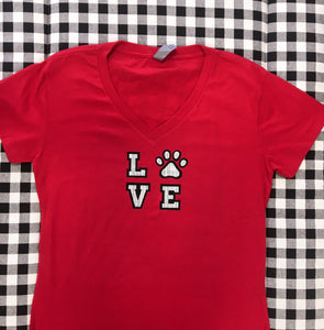 LOVE paw relaxed fit red v neck t shirt