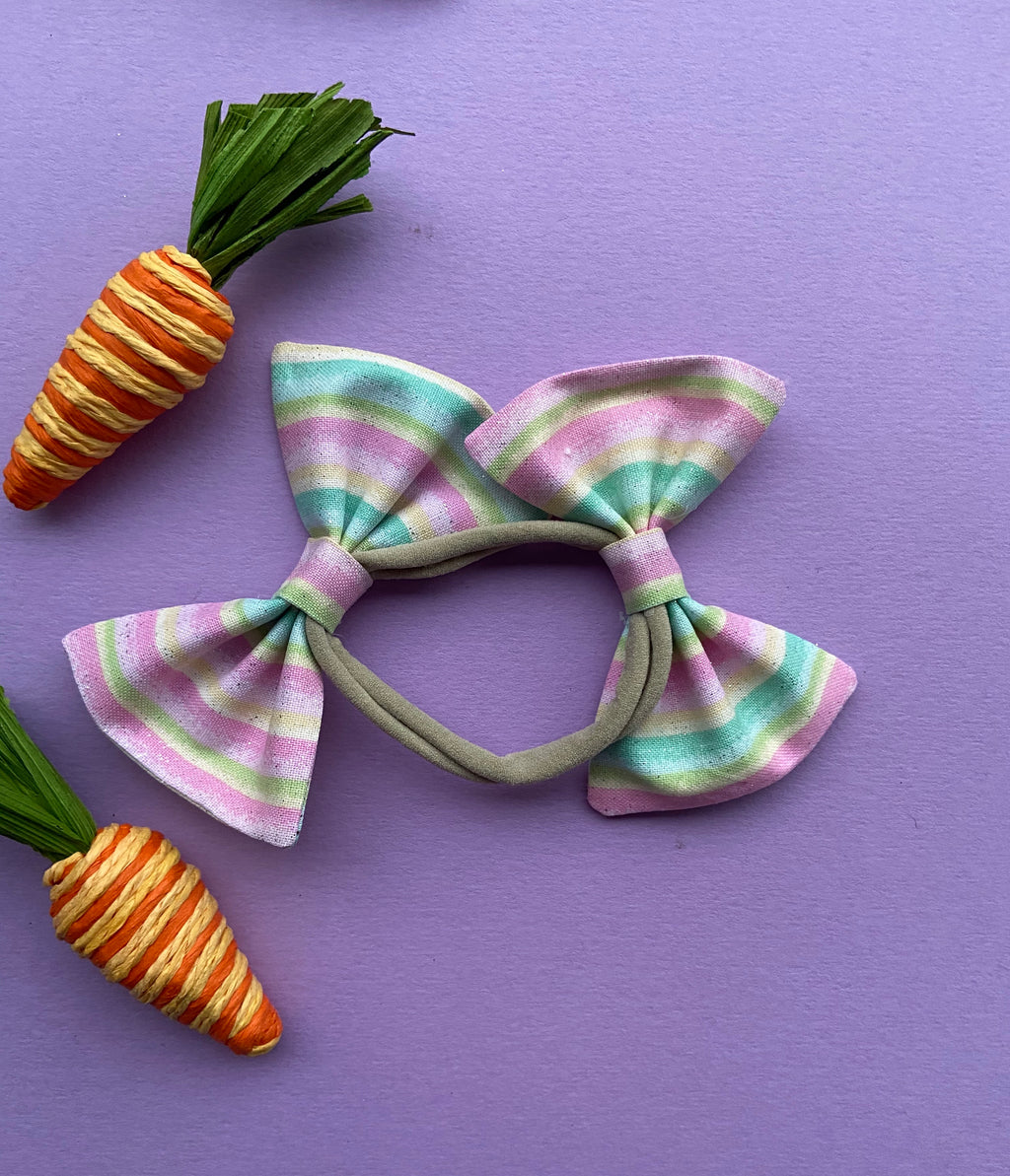 Pastel stripes double bow headband