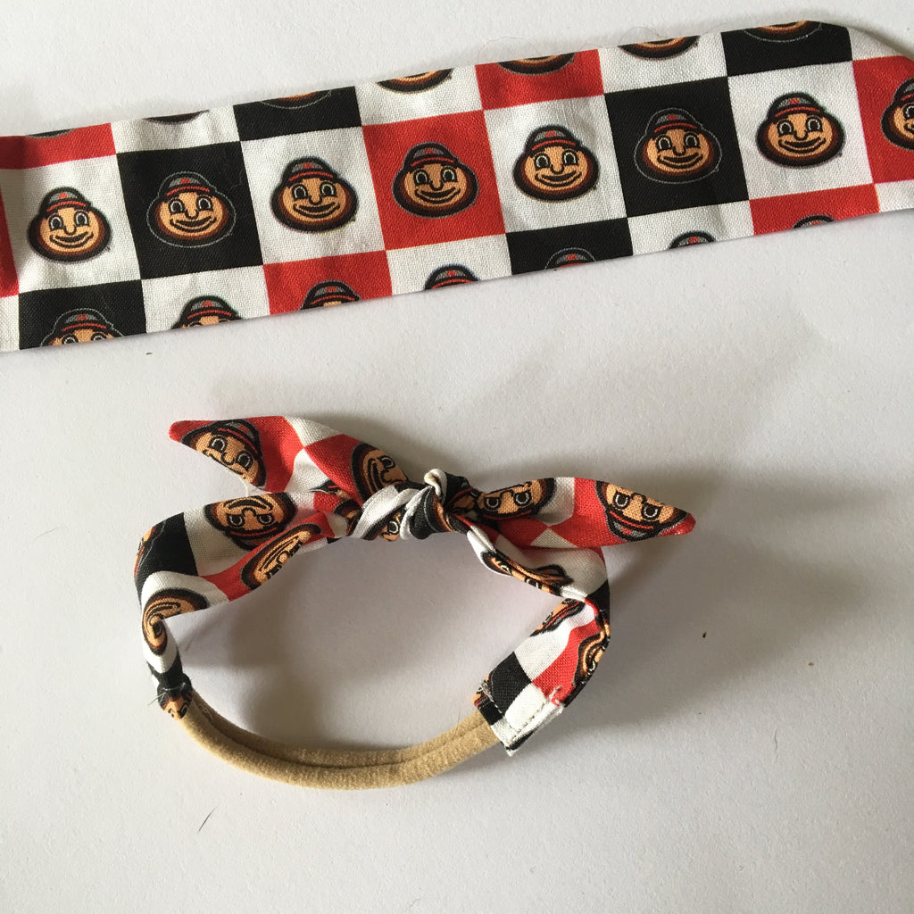 Ohio state Brutus black and red check Rosie headwrap
