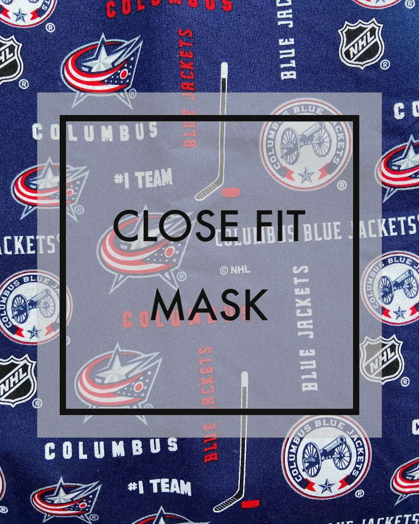 Close fit face mask Blue jackets with nylon loop ear straps