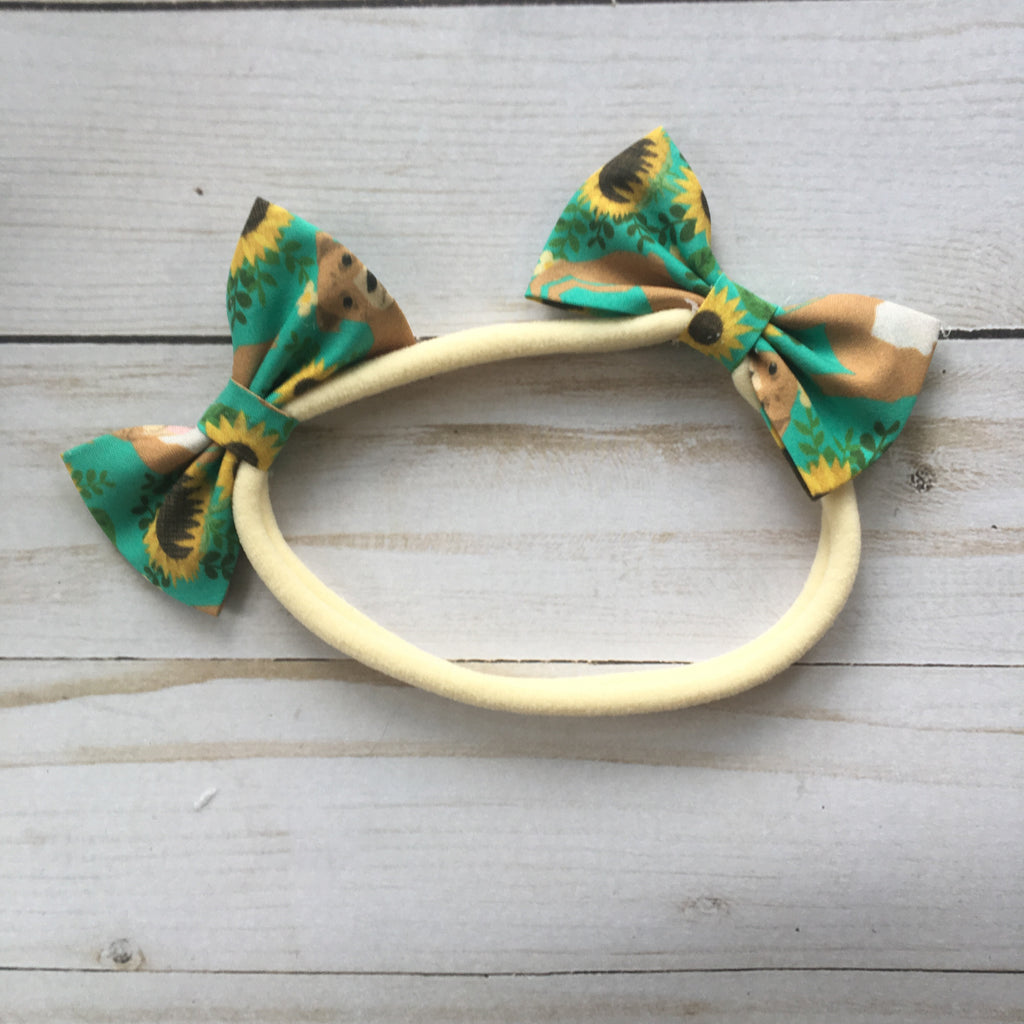 Double bow headband pit bulls and sunflowers