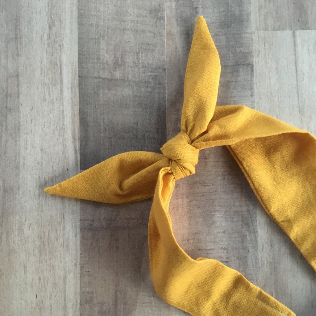 Woven mustard gold top knot headwrap