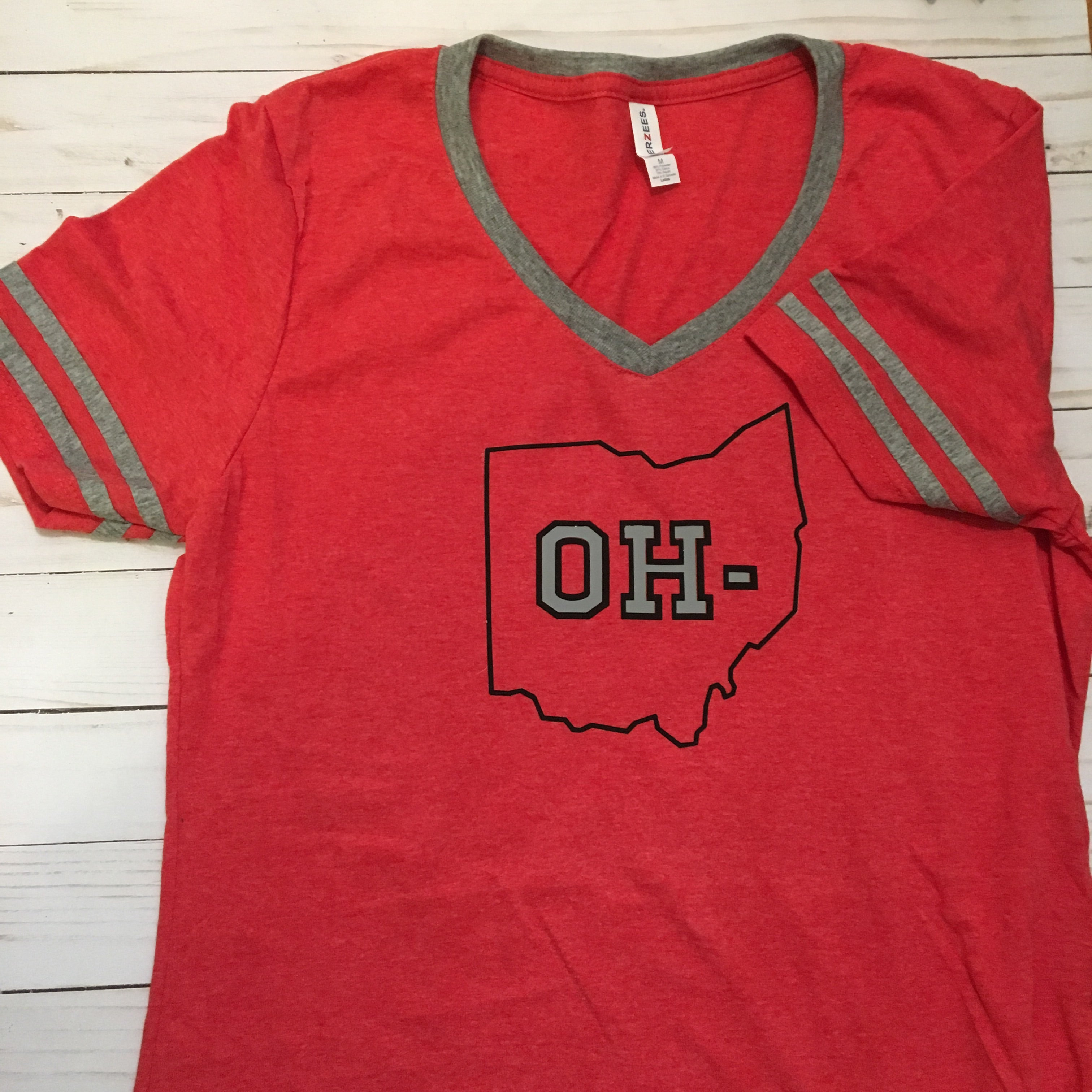 OH- women's cut red v neck tee