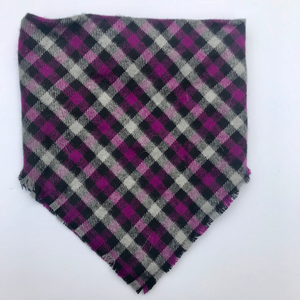 Purple grey and black plaid blanket scarf