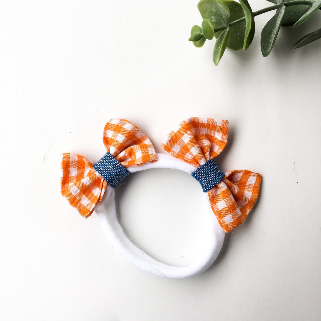 Orange gingham with chambray contrast double bow headband