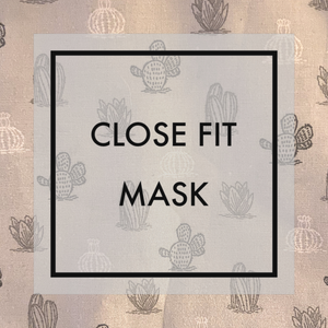 Light gray cactus Close fit face mask with nylon ear loops