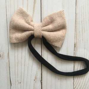 Blanket scarf bow headband blush herringbone