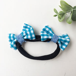 Teal gingham with chambray contrast double bow headband
