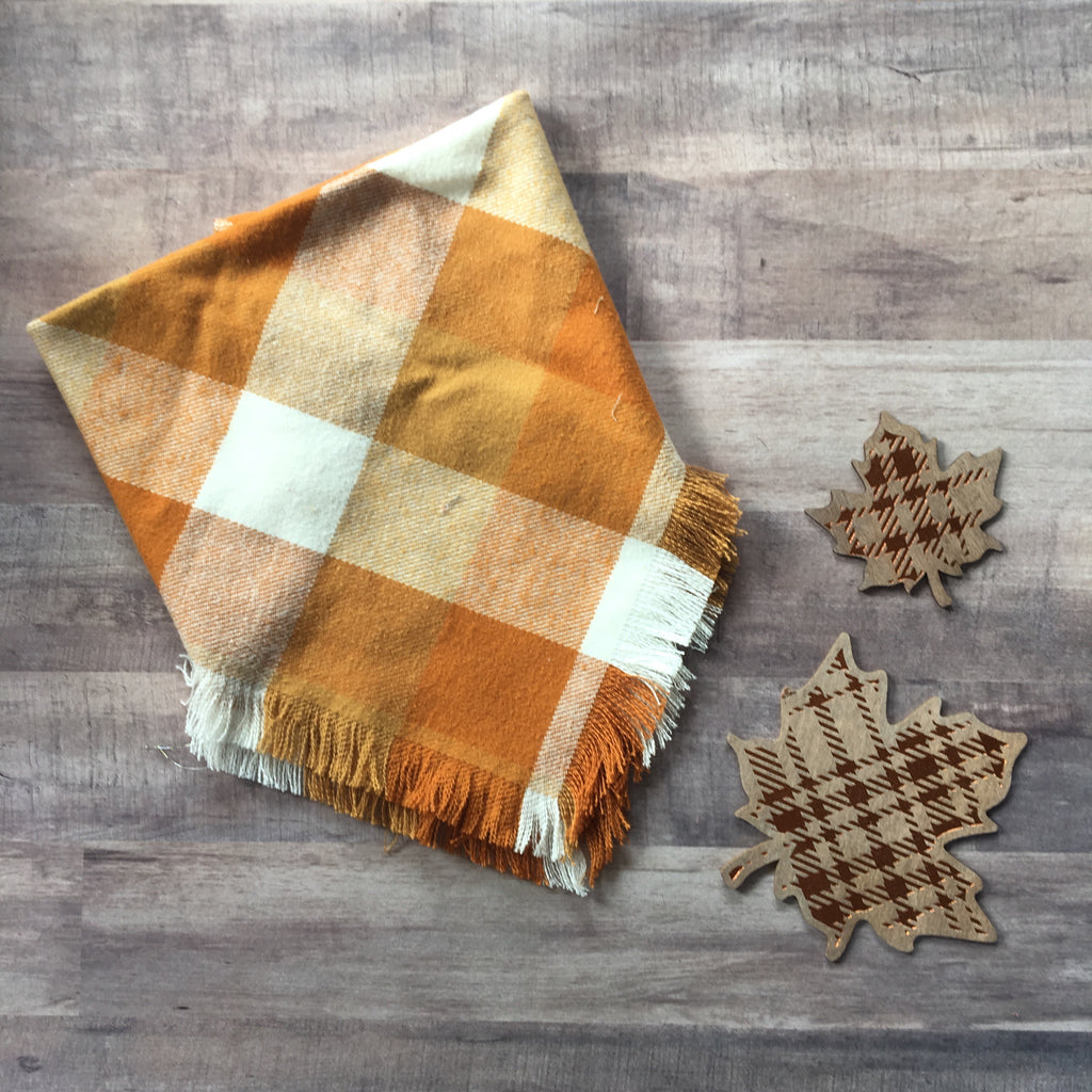 Pumpkin and cream check blanket scarf