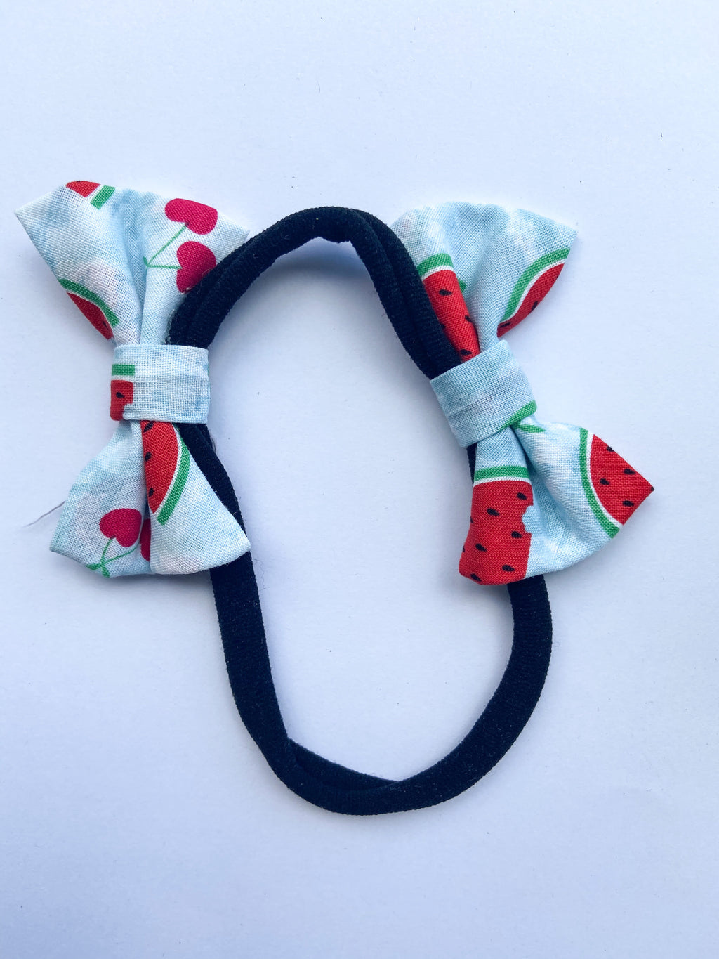 Watermelon and cherry double bow headband