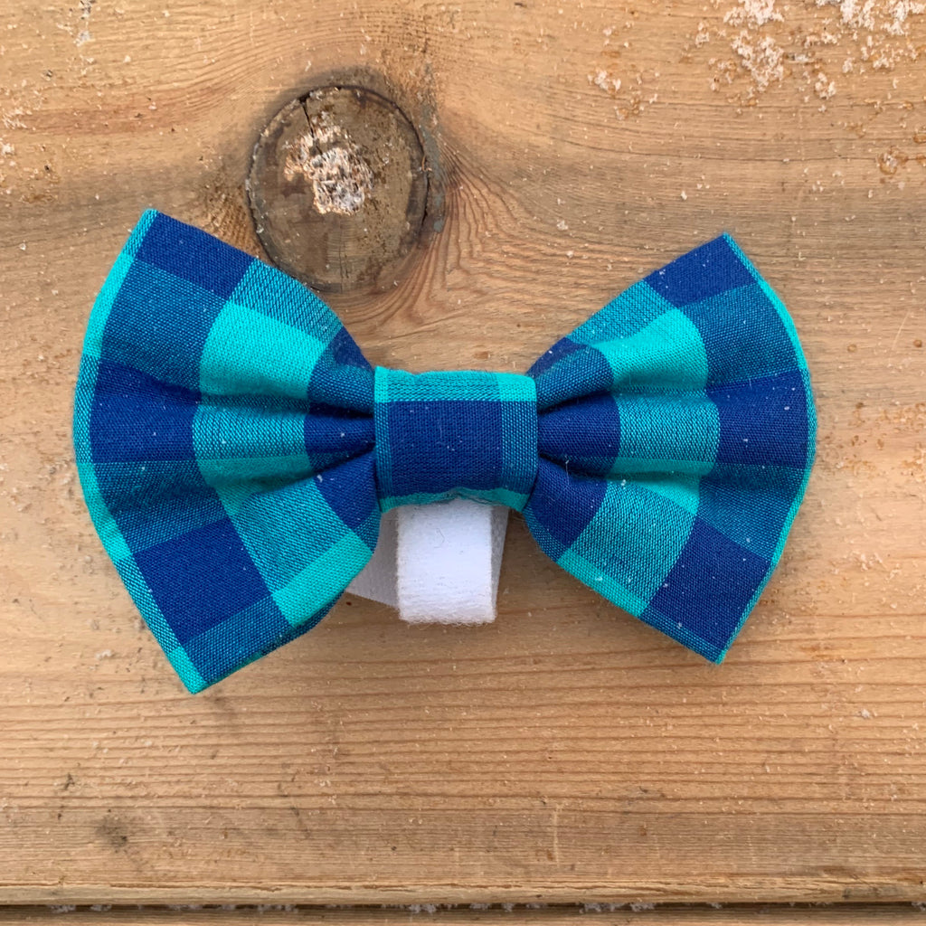 Light and dark blue checkered bow tie
