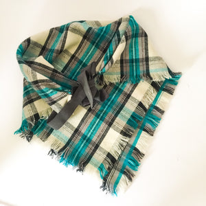 Teal black and cream plaid blanket scarf